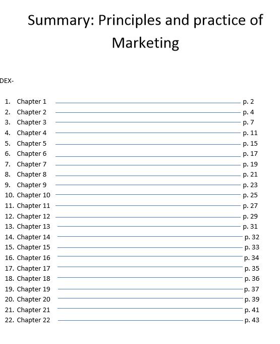 "Summary Jobber, David ""Principles and practice of Marketing"" 2010"
