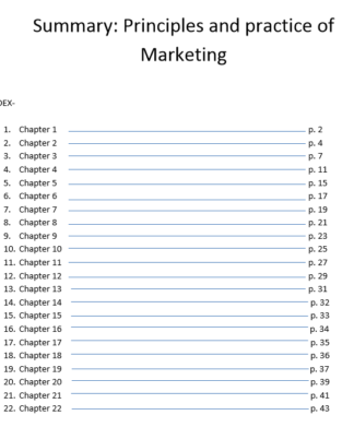 "Summary Jobber, David ""Principles and practice of Marketing"" 2010"